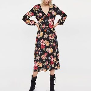 Zara floral midi dress with velvet binding